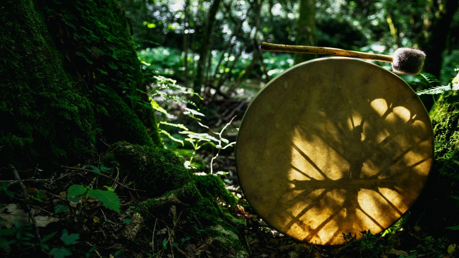 Schamanische Trommel im Wald